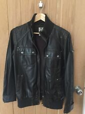 Mens Teens Top Man Faux Leather Bomber Jacket Size Small Brown