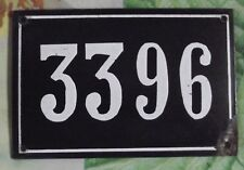 Large old black French house number 3396 door gate wall plate enamel metal sign