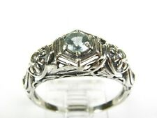 .36ctw Natural Round Aquamarine Victorian Deco Sterling Floral Filigree Ring s7