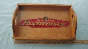 """Vintage Wood Budweiser Serving Tray RARE 18"""" x 11 1/2"""" x 4"""" Anheuser Busch"""