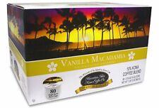 Hawaiian Isles Coffee Vanilla Macadamia 80 K-Cups Single Serve Keurig* Brew Pods