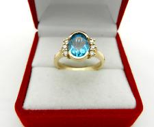 KRISTINA 14k Yellow Gold Oval Blue Topaz & Diamonds Ring size 7 DESIGNER SIGNED
