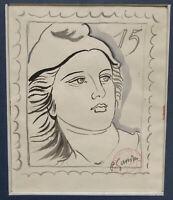 Tableau France Timbre Philatelie Marianne Aquarelle sig Pierre Gandron 1899-1990