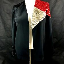 Caron of Chicago Womens Sequined Cardigan Jacket Top  Red Silver Black