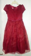 Gorgeous Burgundy Christmas Dress-Size 6-Netting-Beaded & Jeweled Waist Line