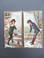 ANTIQUE Greetings Cards Christmas N Year Felix Dussert Boys Snowy Scene CHROMO