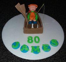 Edible sleeping fishing boat, fisherman  birthday cake topper mens boys