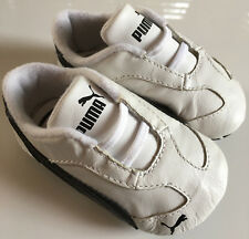 PUMA UK Size 2 (US Size 3) White Leather Kinder-Fit First Walker Baby Crib Shoes