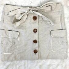 J. Crew Womens Cotton Linen Mini Skirt Button Front Tie Waist Size 4