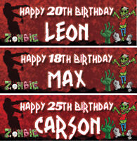 2 personalised birthday banner zombie halloween children scary party decoration