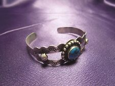 Bracelet Signed Vintage Mexican Silver Sterling Silver 925 Turquoise Petite Cuff