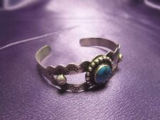 Sterling Silver 925 Turquoise Petite Cuff Bracelet Signed Vintage Mexican Silver