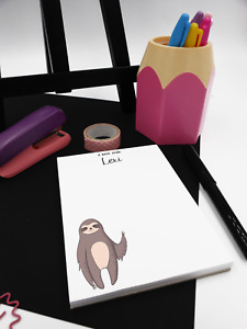 Personalised Sloth Notepad. Personalised jotter pad A6, Sloth Desk pad