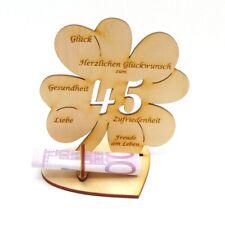 Geldscheinhalter Geschenk Messinghochzeit 45 Jahre, Holz 11cm Kleeblatt mit Herz