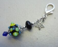 Lampwork Bead Black Green Spike - Just for You Clip on  Bag Charm or Zipper Pull