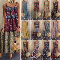 Women Plus Size Casual Loose Sleeveless Floral Daily Linen Print Long Maxi Dress