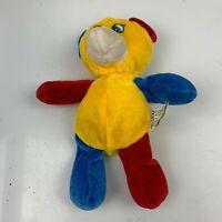 KellyToy Stuffed Animal Bear Plush Toy Yellow Polyester Fiber Stuffing Vintage