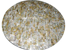 "18"" White Marble Top Table Abalone Inlay Stone Semi Precious Fine Decor H3009B"