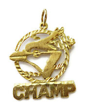 10K Yellow Gold Champ Charm Necklace Pendant ~2.4g