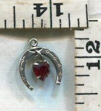 VINTAGE STERLING BRACELET CHARM~DANGLING RED HEART GEM IN HORSESHOE~$9.99!!!