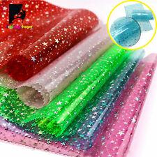 10PCS A4 Holographic PVC Vinyl Sparkle Star Fabric DIY Handmade Bow Craft Bag