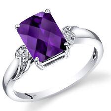 14K White Gold Amethyst Diamond Ring Radiant Cut 2 Carats Size 7