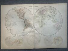 1882 WORLD HEMISPHERES ORIGINAL ANTIQUE COLOUR MAP BY W.G. BLACKIE