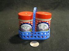 Vintage Tin Column Lake McDonald Park Salt and Pepper Shakers Carrier        71