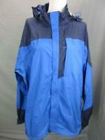 REI Size XL Mens Blue Full Zip Nylon Outdoor Hooded Windbreaker Jacket T351