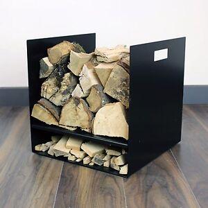 Black Premium Log Basket Store Modern Design Metal Hard Wood Burning Stove Fire
