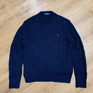Polo Ralph Lauren Cable Knit Navy Blue Cotton Crew Neck Sweater Pullover Size XL