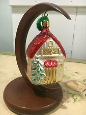 "Radko Vintage Winter Cottage Mercury Glass Ornament 4.25""Hx2.5""W"