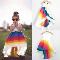 US Stock Girls Princess Dress Kids Baby Party Pageant Casual Beach Tutu Dresses