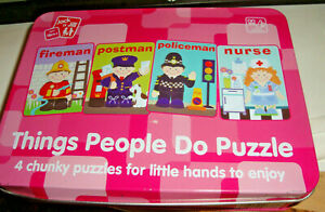 THINGS PEOPLE DO PUZZLE- 4 CHUNKY PUZZLES FOR LITTLE HANDS TO ENJOY-IN TIN