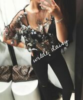 ZARA NEW EMBROIDERED TULLE TOP BLOUSE SHEER FLORAL BLACK BLOGGER LOVE SIZE XS-L
