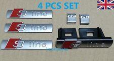 4 Pcs Set Audi S-Line Badges Emblems 1x Grille 3 x Sticker A3 A4 A5 A6 A8 TT Q7