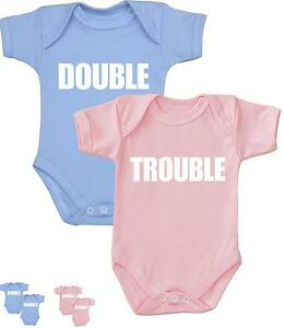 BabyPrem TWINS Baby Clothing Clothes Double Trouble Bodysuits Vests Shower Gifts