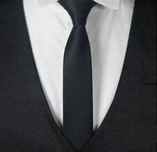 Krawatte schmal SCHWARZ Herren Damen  Hochzeit Business Schlips Anzug festlich