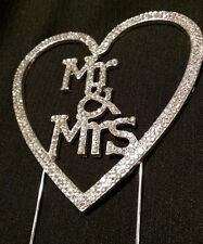 Wedding Cake Topper Mr & Mrs Heart Sparkle Glittery Premium Pick Crystal Look