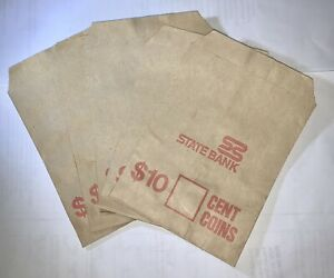5 X State Bank Australia Paper Coin Bags Excellent Condition $10 Cent Coins Auct