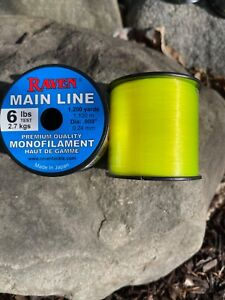Raven Premium Monofilament fishing Line, 6 Lb Test Fluorescent Yellow, 985 Yds