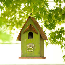 "Glitzhome 10"" Rustic Garden Wooden Hanging Bird House Feeder Bird Nest Decor New"