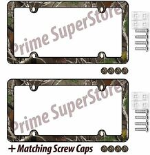2 Camouflage Hunting Nature Black License Plate Frame Car/Truck Tag Holder Screw