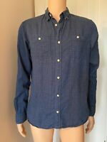 All Saints Blue White Spot Smart Casual Mens Shirt M Medium Long Sleeve 21""