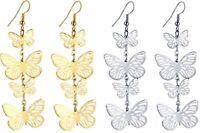 Pair of Butterflies Drop Earrings. 7cm x 2cm. Metal Women's Fashion Jewellery