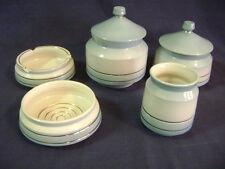 Vintage Italian Ceramic Vanity Dresser Set by Iris Ceramica 7 Pcs Jars Gold Trim