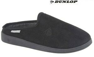 Mens Dunlop Mule Slippers Black Textile Strong Sole Garden Size 6 - 13 UK