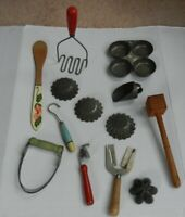 Lot Of Vintage Kitchen Utensils- Masher, Wooden Spoon, Scoop, Baking Pan, Molds