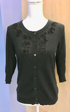 Merona Black Cardigan with Roses - Size M-L