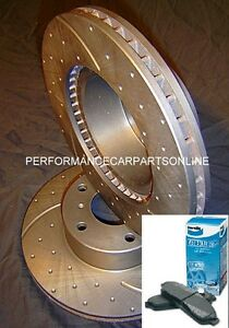 DRILLED SLOTTED & BENDIX PADS Commodore VT VU VX VY VZ Front Disc Brake Rotors